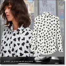 J W ANDERSON Stripes Heart Long Sleeves Cotton Shirts