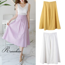 Flared Skirts Casual Style Plain Long Maxi Skirts
