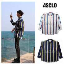 ASCLO Stripes Street Style Long Sleeves Oversized Shirts