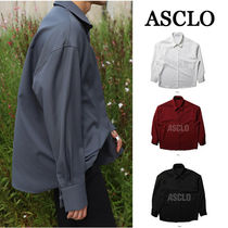 ASCLO Street Style Long Sleeves Plain Oversized Shirts