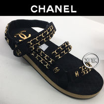 CHANEL Platform Casual Style Suede Chain Plain Footbed Sandals