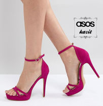 ASOS Casual Style Faux Fur Pin Heels Heeled Sandals