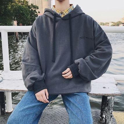 Hoodies Pullovers Street Style Long Sleeves Plain Cotton Oversized