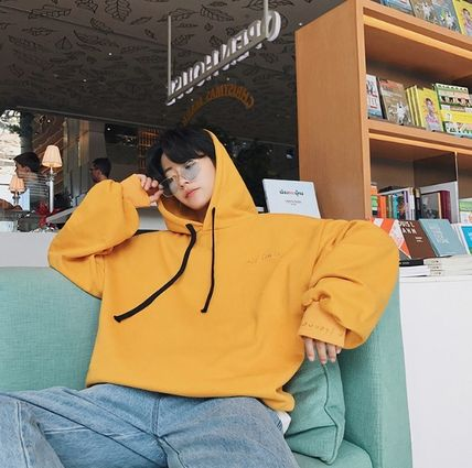 Hoodies Pullovers Street Style Long Sleeves Plain Cotton Oversized 8