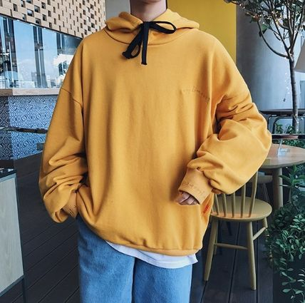 Hoodies Pullovers Street Style Long Sleeves Plain Cotton Oversized 12