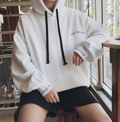 Hoodies Pullovers Street Style Long Sleeves Plain Cotton Oversized 19