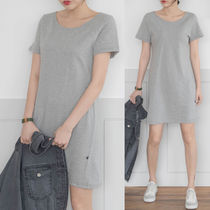 Casual Style Plain Cotton Short Sleeves Dresses