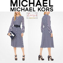 Michael Kors Stripes Long Sleeves Medium Shirt Dresses Elegant Style