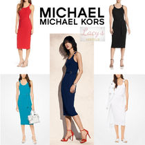 Michael Kors Tight Sleeveless U-Neck Plain Medium Elegant Style Dresses