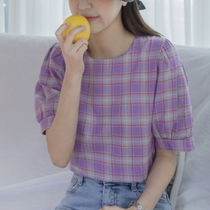 Other Check Patterns Casual Style Puffed Sleeves Cotton