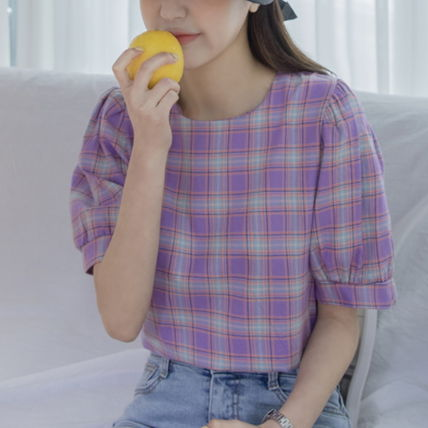 Shirts & Blouses Other Check Patterns Casual Style Puffed Sleeves Cotton