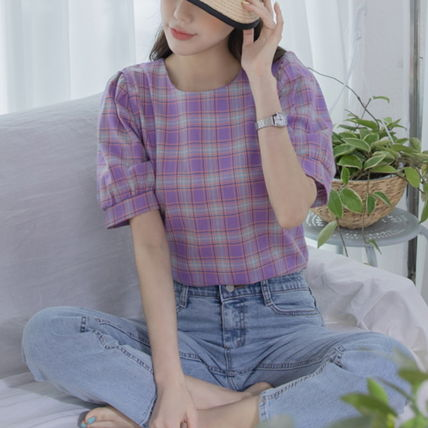 Shirts & Blouses Other Check Patterns Casual Style Puffed Sleeves Cotton 2