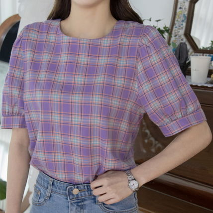 Shirts & Blouses Other Check Patterns Casual Style Puffed Sleeves Cotton 3
