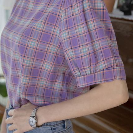 Shirts & Blouses Other Check Patterns Casual Style Puffed Sleeves Cotton 4