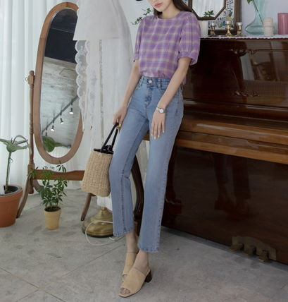 Shirts & Blouses Other Check Patterns Casual Style Puffed Sleeves Cotton 5