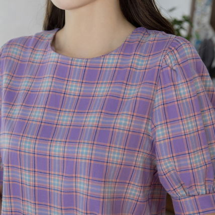 Shirts & Blouses Other Check Patterns Casual Style Puffed Sleeves Cotton 8