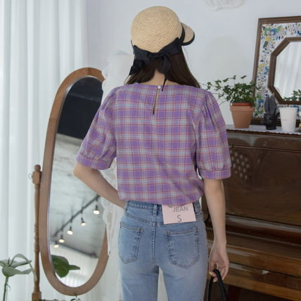 Shirts & Blouses Other Check Patterns Casual Style Puffed Sleeves Cotton 9
