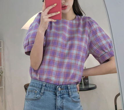 Shirts & Blouses Other Check Patterns Casual Style Puffed Sleeves Cotton 10