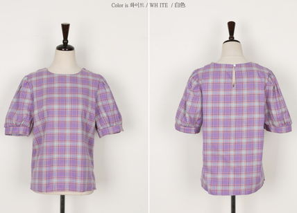 Shirts & Blouses Other Check Patterns Casual Style Puffed Sleeves Cotton 11