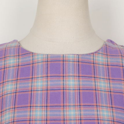 Shirts & Blouses Other Check Patterns Casual Style Puffed Sleeves Cotton 12