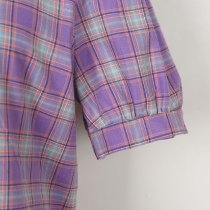 Shirts & Blouses Other Check Patterns Casual Style Puffed Sleeves Cotton 13