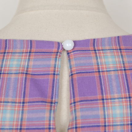 Shirts & Blouses Other Check Patterns Casual Style Puffed Sleeves Cotton 15