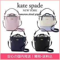 kate spade new york Stripes 2WAY Plain Leather Purses Elegant Style Handbags