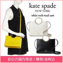 kate spade new york Stripes 2WAY Plain Leather Elegant Style Handbags