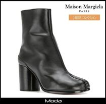 Maison Martin Margiela Casual Style Plain Leather Block Heels High Heel Boots