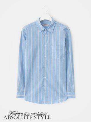 Button-down Stripes Street Style Long Sleeves Cotton Shirts