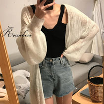 Casual Style Plain Long Puff Sleeves Cardigans
