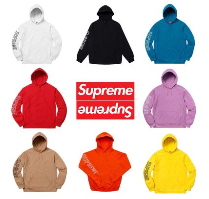 Supreme Hoodies Long Sleeves Cotton Logos on the Sleeves Hoodies