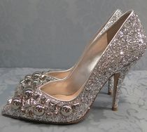 MiuMiu Blended Fabrics Studded Plain Leather Pin Heels Party Style