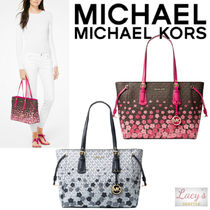 Michael Kors VOYAGER Flower Patterns Monogram Casual Style Street Style A4