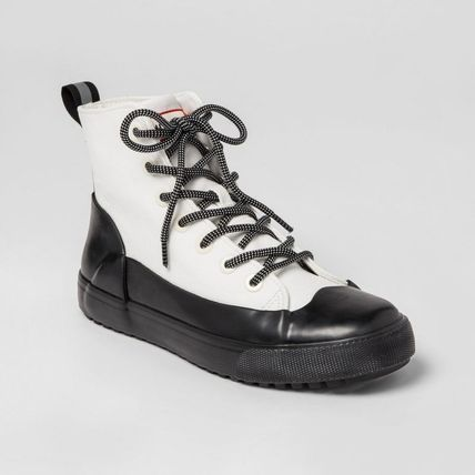 Rubber Sole Lace-up Bi-color Low-Top Sneakers