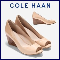 Cole Haan Open Toe Enamel Plain Peep Toe Pumps & Mules