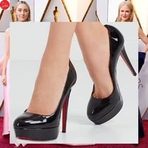Christian Louboutin Platform Plain Leather Elegant Style Platform Pumps & Mules