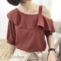 Casual Style Chiffon Cropped Plain Medium Dark Brown
