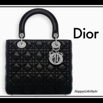 Christian Dior LADY DIOR Lambskin 2WAY Plain Elegant Style Handbags