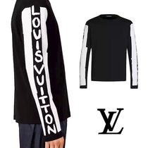 Louis Vuitton U-Neck Long Sleeves Cotton Logos on the Sleeves