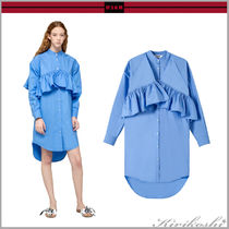 MSGM Casual Style Long Sleeves Plain Cotton Long Shirts & Blouses
