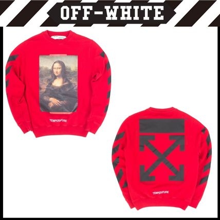 Off-White Hoodies Crew Neck Unisex Long Sleeves Plain Cotton Hoodies