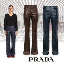 PRADA Casual Style Plain Leather Long Leather & Faux Leather Pants