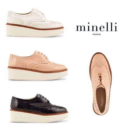 Round Toe Plain Leather Elegant Style Loafer Pumps & Mules