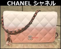 CHANEL CHAIN WALLET Blended Fabrics 3WAY Bi-color Chain Leather Elegant Style