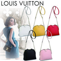 Louis Vuitton ALMA Chain Plain Leather Elegant Style Shoulder Bags