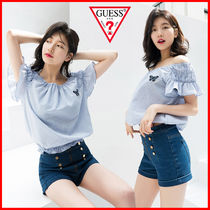 Guess Stripes Casual Style U-Neck Medium Short Sleeves