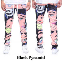 Black Pyramid Printed Pants Street Style Patterned Pants