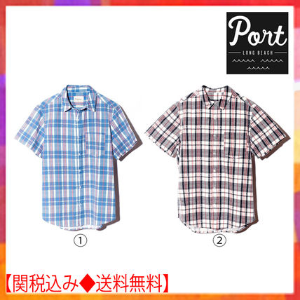 Other Check Patterns Cotton Short Sleeves Shirts