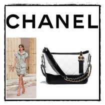 CHANEL Calfskin Bi-color Chain Plain Elegant Style Shoulder Bags